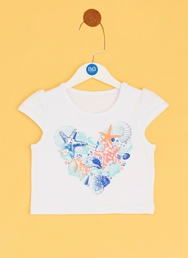 BG Baby BG Baby Beyaz Kız Bebek T-Shirt Beyaz